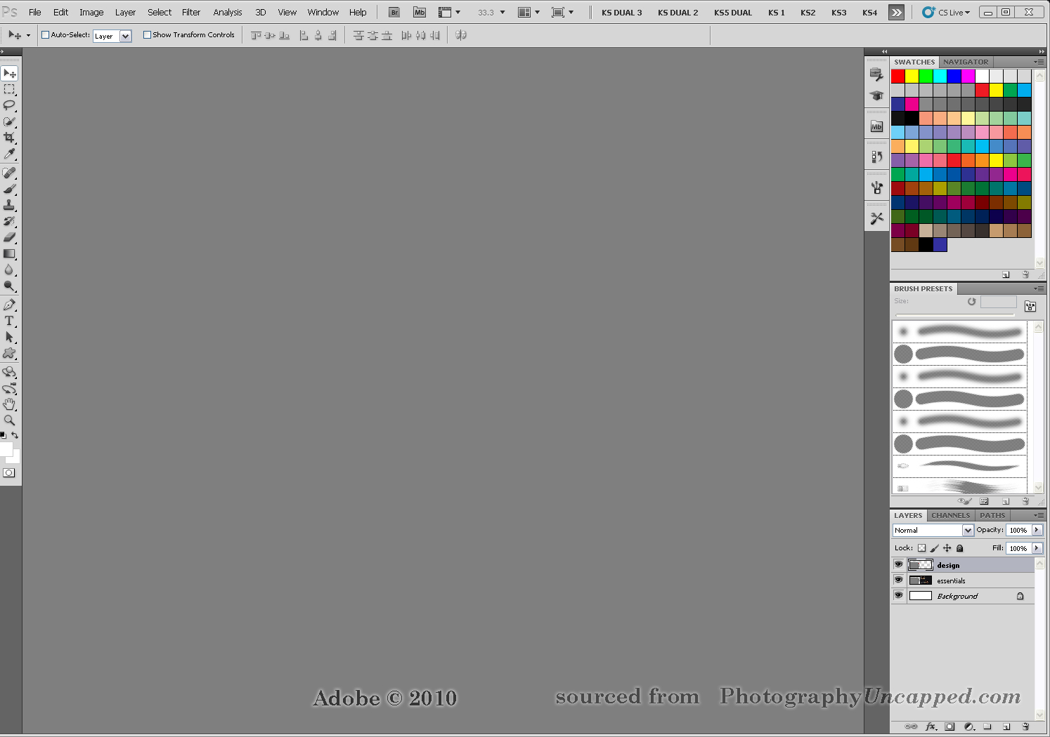 New Adobe Photoshop CS5 + CS5 Extended Workspaces Screen Captures