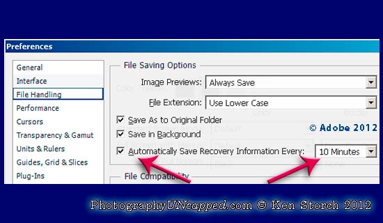 Auto Recovery Save Information in Photoshop CS6 - Public Beta